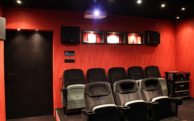 Home media room with theater chairs
